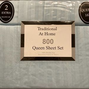 Traditional At Home 6pc Queen Sheet Set Baby Blue